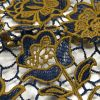 Mustard and Royal Blue Floral Two-Tone Guipure Lace with Finished Edges - Detail