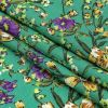 Mood Exclusive Teal and Bright Violet August Abloom Viscose Twill - Folded
