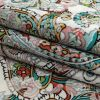 Mood Exclusive Teal and Saffron Precious Paisleys Printed Stretch Floral Jacquard - Folded