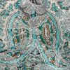 Mood Exclusive Turquoise Baroque Embellishments Printed Stretch Floral Jacquard - Detail