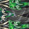 Kelly Green, Deep Dive and Caviar Diamonds and Abstract Silk Charmeuse