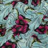 Pink, Sky Blue and Lime Floral Waves Silk Crepe de Chine - Detail