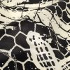 Black and White Alyssum Abstract Silk Charmeuse - Detail