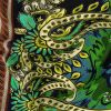Rust, Green and Evening Blue Paisley and Abstract Silk Crepe de Chine