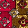 Red, Gold and Black Geometric Cotton Supreme Wax African Print - Folded