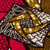 Red, Gold and Black Geometric Cotton Supreme Wax African Print - Detail