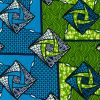 Estate Blue and Grass Green Geometric Cotton Supreme Wax African Print - Folded