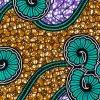 Teal, Gold and Purple Spirals and Abstract Cotton Supreme Super Wax African Print - Folded
