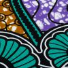 Teal, Gold and Purple Spirals and Abstract Cotton Supreme Super Wax African Print - Detail