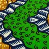 Green, Estate Blue and Tan Wavy Zig Zags Cotton Supreme Wax African Print - Detail