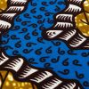 Blue, Dark Yellow and Brown Wavy Zig Zags Cotton Supreme Wax African Print - Detail
