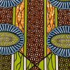 Lime, Estate Blue and Orange Striped Floral Cotton Supreme Wax African Print - Folded