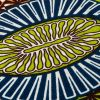 Lime, Estate Blue and Orange Striped Floral Cotton Supreme Wax African Print - Detail