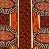 Orange and Brown Striped Floral Cotton Supreme Wax African Print - Folded