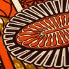 Orange and Brown Striped Floral Cotton Supreme Wax African Print - Detail