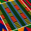 Red, Orange and Green Geometric Patchwork Cotton Kente Cloth African Print - Detail