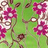 Magenta, Wine and Tofu Flowers and Vines Cotton Supreme Wax Jewel African Print with Green Metallic Shimmer - Folded