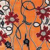 Red, White and Night Sky Flowers and Vines Cotton Supreme Wax Jewel African Print with Coral Rose Metallic Shimmer - Folded