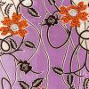 Orange, Dark Brown and White Flowers and Vines Cotton Supreme Wax Jewel African Print with Purple Metallic Shimmer - Folded