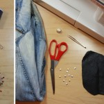 Studded Collar Denim Jacket with Leather Sleeves 3