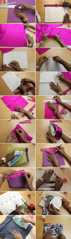 Double Zipper Printed Clutch How-To